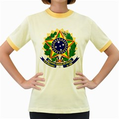 Coat of Arms of Brazil Women s Fitted Ringer T-Shirts