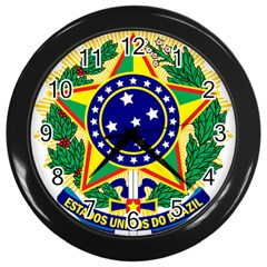 Coat of Arms of Brazil Wall Clocks (Black)