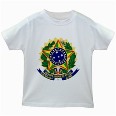 Coat of Arms of Brazil Kids White T-Shirts