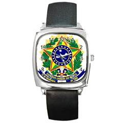 Coat of Arms of Brazil Square Metal Watch
