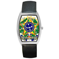 Coat of Arms of Brazil Barrel Style Metal Watch