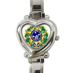 Coat of Arms of Brazil Heart Italian Charm Watch