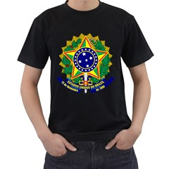 Coat of Arms of Brazil Men s T-Shirt (Black) (Two Sided)