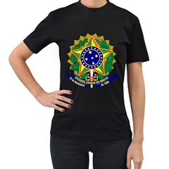 Coat of Arms of Brazil Women s T-Shirt (Black) (Two Sided)