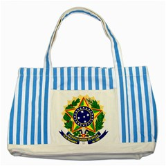 Coat of Arms of Brazil Striped Blue Tote Bag