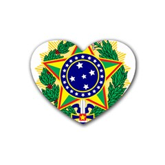 Coat of Arms of Brazil Rubber Coaster (Heart)