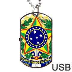 Coat of Arms of Brazil Dog Tag USB Flash (Two Sides)
