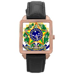 Coat of Arms of Brazil Rose Gold Leather Watch