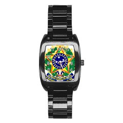 Coat of Arms of Brazil Stainless Steel Barrel Watch