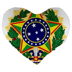 Coat of Arms of Brazil Large 19  Premium Flano Heart Shape Cushions