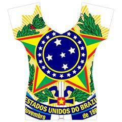 Coat of Arms of Brazil Women s V-Neck Cap Sleeve Top
