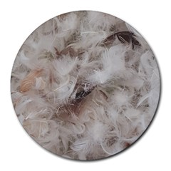 Down Comforter Feathers Goose Duck Feather Photography Round Mousepads
