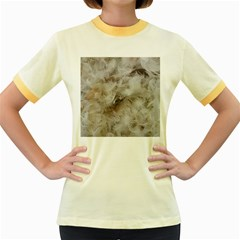 Down Comforter Feathers Goose Duck Feather Photography Women s Fitted Ringer T-Shirts