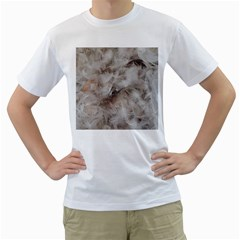Down Comforter Feathers Goose Duck Feather Photography Men s T-Shirt (White) (Two Sided)