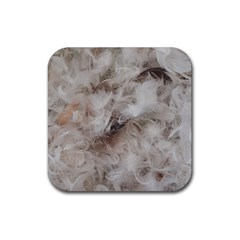 Down Comforter Feathers Goose Duck Feather Photography Rubber Square Coaster (4 pack)