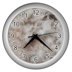 Down Comforter Feathers Goose Duck Feather Photography Wall Clocks (Silver)