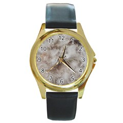 Down Comforter Feathers Goose Duck Feather Photography Round Gold Metal Watch