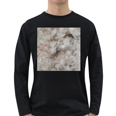 Down Comforter Feathers Goose Duck Feather Photography Long Sleeve Dark T-Shirts