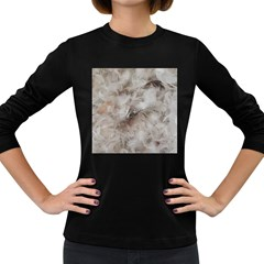 Down Comforter Feathers Goose Duck Feather Photography Women s Long Sleeve Dark T-Shirts