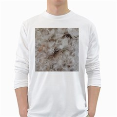 Down Comforter Feathers Goose Duck Feather Photography White Long Sleeve T-Shirts