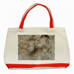 Down Comforter Feathers Goose Duck Feather Photography Classic Tote Bag (Red)