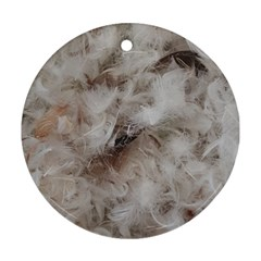 Down Comforter Feathers Goose Duck Feather Photography Round Ornament (Two Sides)
