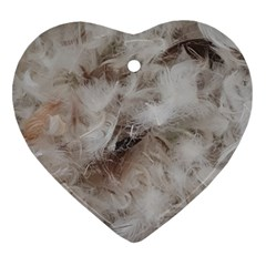 Down Comforter Feathers Goose Duck Feather Photography Heart Ornament (2 Sides)