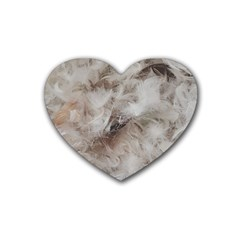Down Comforter Feathers Goose Duck Feather Photography Rubber Coaster (Heart)
