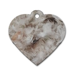 Down Comforter Feathers Goose Duck Feather Photography Dog Tag Heart (Two Sides)