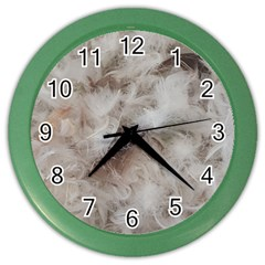 Down Comforter Feathers Goose Duck Feather Photography Color Wall Clocks