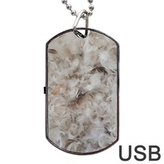 Down Comforter Feathers Goose Duck Feather Photography Dog Tag USB Flash (Two Sides)