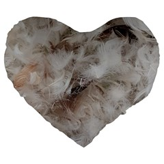 Down Comforter Feathers Goose Duck Feather Photography Large 19  Premium Heart Shape Cushions