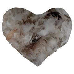 Down Comforter Feathers Goose Duck Feather Photography Large 19  Premium Flano Heart Shape Cushions