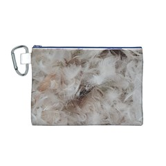 Down Comforter Feathers Goose Duck Feather Photography Canvas Cosmetic Bag (M)