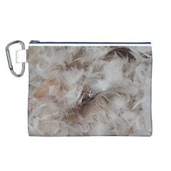 Down Comforter Feathers Goose Duck Feather Photography Canvas Cosmetic Bag (L)