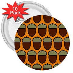 Acorn Orang 3  Buttons (10 pack)