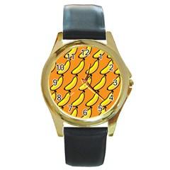 Banana Orange Round Gold Metal Watch