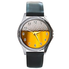 Beer Foam Yellow Round Metal Watch