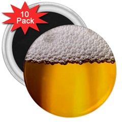 Beer Foam Yellow 3  Magnets (10 pack)