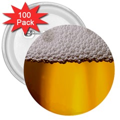 Beer Foam Yellow 3  Buttons (100 pack)