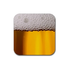 Beer Foam Yellow Rubber Square Coaster (4 pack)