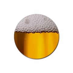 Beer Foam Yellow Rubber Round Coaster (4 pack)