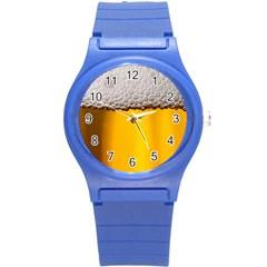 Beer Foam Yellow Round Plastic Sport Watch (S)