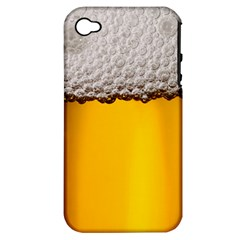Beer Foam Yellow Apple iPhone 4/4S Hardshell Case (PC+Silicone)