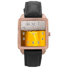 Beer Foam Yellow Rose Gold Leather Watch