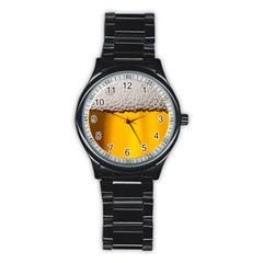 Beer Foam Yellow Stainless Steel Round Watch