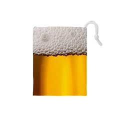 Beer Foam Yellow Drawstring Pouches (Small)