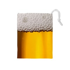 Beer Foam Yellow Drawstring Pouches (Medium)