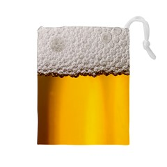 Beer Foam Yellow Drawstring Pouches (Large)