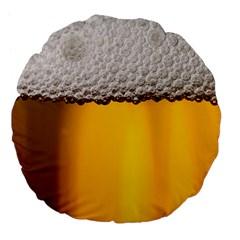 Beer Foam Yellow Large 18  Premium Flano Round Cushions